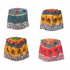 Set of 4 Footstool Bamboo Cover MultiColour Mudda Ottoman Pouffe Size 17x18 Inc