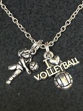 "I Love Volleyball Return Serve Charm Tibetan Silver 18"" Necklace BIN"