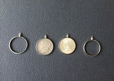 24CT COIN HOLDER BEZELS SILVER PLATED FOR IKE MORGAN PEACE DOLLARS PENDANTS