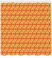 Orange Shower Curtain Fabric Bathroom Decor Set with Hooks 4 Sizes