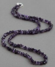 "AMETHYST LONG LINE NECKLACE 37"" LENGTH WITH SILVER PLATED CLASP"