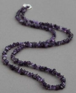 """AMETHYST LONG LINE NECKLACE 37"""" LENGTH WITH SILVER PLATED CLASP"""