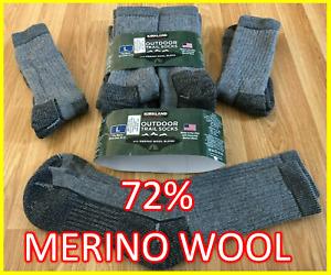 2 x Kirkland Signature 72% Merino Wool Outdoor Walking Hiking Trail Socks LARGE