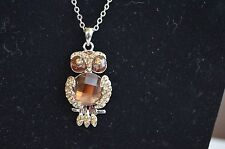 Cookie Lee  / Vivi OLLIE THE OWL NECKLACE  NWT  Crystal