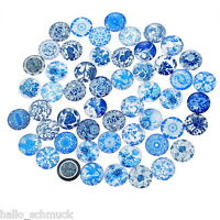 HS 10 Mix Charm Blumen Rund Glascabochons Klebeperlen Klebesteine 12mm