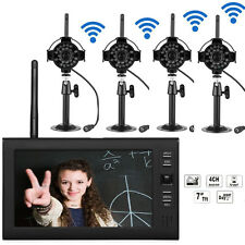 "2.4GHz 4CH Wireless DVR Security System HD Video Recorder 7"" Monitor 4 IR Camera"