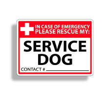 Service Dog Emergency Rescue Sticker 1st First Fire 911 Decal Safety Car Van EMT