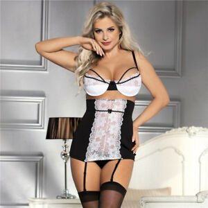 Sexy GIRDLE Bra Set Plus Size with Suspenders and G String 10 12 14 16 18 20 22