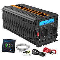 Convertisseur 12V 220V 2000W 4000W Onduleur Power Inverter LCD Softstart 2 USB