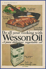 Vintage 1918 WESSON Oil Salad Frying Eggs Kitchen Decor Linn Ball Art Print Ad