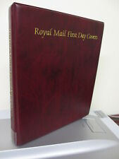 ROYAL MAIL MAROON FIRST DAY COVER ALBUM WITH 17 CLEAN RE-USEABLE LEAVES VGC
