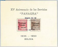 AVIATION AIRPLANES - POSTAL HISTORY - BOLIVIA: PANAGRA  stamps on FDC card 1950