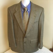 Burberry Mens 2 Button 100% Wool Suit Jacket Only 40 R 42R Brown Plaid Free Ship