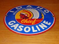 "VINTAGE ""IDAHO INDIAN CHIEF GASOLINE"" 12"" PORCELAIN METAL OIL PUMP PLATE SIGN!!!"