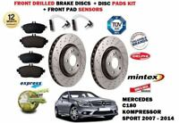 FOR MERCEDES C180 KOMPRESSOR 2007-> FRONT DRILLED BRAKE DISC SET & PADS + SENSOR
