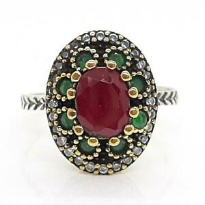 Deco 2.05ctw Ruby, Emerald & Diamond Cut White Sapphire 14K Yellow Gold 925 Ring