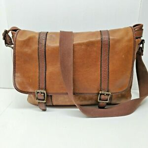 Fossil Messenger Bag Brown Leather Briefcase Laptop Purse