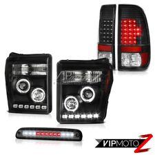 11-16 Ford F350 3RD Brake Light Raven Black Taillights Headlamps LED Halo Ring