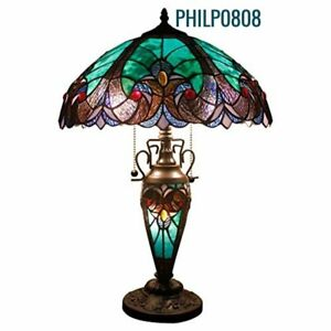 """Tiffany Style Victorian Table Lamp Lit Base Green Stained Glass Shade 24"""" High"""