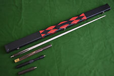 3/4 HANDMADE RARE GABON ZEBRAWOD ASH SNOOKER/POOL CUE SET WITH CASE EXTENSION