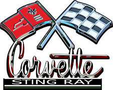 "Corvette Emblem with Flag Large Decal 11"" x 8.5"""