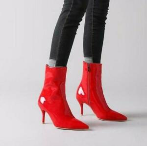 Womens shiny Patent Leather Pointy Toe Ankle Boots High Stiletto Heel Shoes Size