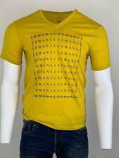 Armani Exchange Authentic Multi Logo V Neck Regular Fit T Shirt Yellow NWT