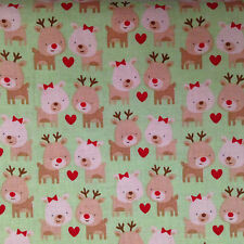 Christmas Fabric 100% Cotton - Reindeer Riley Blake Green Children 1/2 Mtr