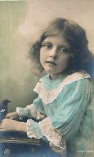c1910 European Beautiful Child Hand Tinted Unused Postcard