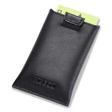 HISCOW Elegant Business Card Case Genuine Leather with Flap for Dispensing Cards