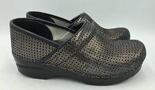Dansko Black/Gold Metallic Leather Professional Clogs Womens Size 38