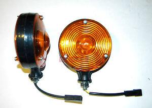 Amber Safety WARNING LIGHT 1 PAIR 12V 12 Volt for Tractor PLASTIC BODY & LENS