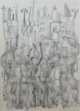 Françoise Martinelli dessin original encre signé 1970 art abstrait P1295