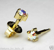 Ear Piercing Earrings Gold 5mm Maxi Rainbow Pronged Gem Studex Hypoallergenic