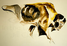 Buffalo Bison Bull Watercolor Art Original Painting Print  Jill Claire  Sunshine