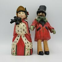 """Vintage 1991 House of Hatten Victorian Man & Woman """"On Christmas Day"""" Caroler"""