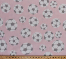 Soccer Balls with Gray Spots Light Pink Sports Fleece Fabric Print BTY A409.12