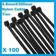 100 x Black Nylon Cable Ties 4.8mmX 300mm (5 x300mm) Free Postage
