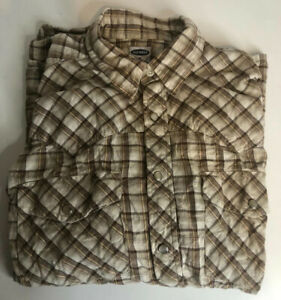 Men's Old Navy Brown Checked Western Style Long Sleeve Shirt Size M
