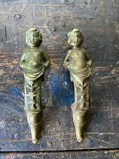 Antique Cherub Figural 1900's Victorian Door Handels Pair Brass Rare Hardware