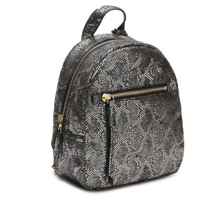 Fossil Silver Metallic Snake Print Leather Backpack ~ New/NWT Megan