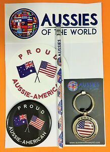 PROUD AUSSIE - AMERICAN GIFT PACK AUSTRALIAN SOUVENIR KEYRING MAGNET STICKER