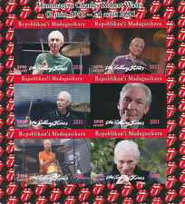 More details for madagascar 2021 mnh music stamps charlie watts rolling stones 6v impf m/s