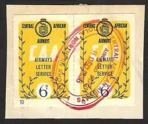 Central African Airways Letter Service 6d stamps x 2 used on piece