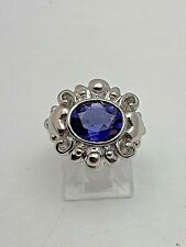 14k White Gold 8mm x 10mm Oval Tanzanite Ring Size 6 3/4