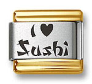 Italian Charm Bracelet Link Laser I Heart Sushi Gold Trim Stainless Steel 9mm