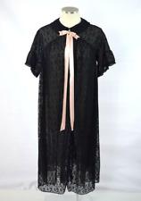 Vtg 70s Sheer Black Peignoir Nightgown Floral Lace Retro Babydoll Robe Size M