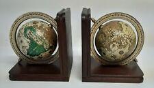 Vintage 60'S/70'S? Globe Bookends Zona Italian Mid Century Modern Wooden Spins