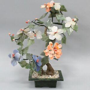 """Vintage Asian Carved Jade & Other Gemstones Flower Tree 11.5"""" H"""