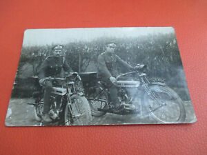 WW1 Soldier Group Post Card Motorcycle Motorbike World War One 28368C & 28369C